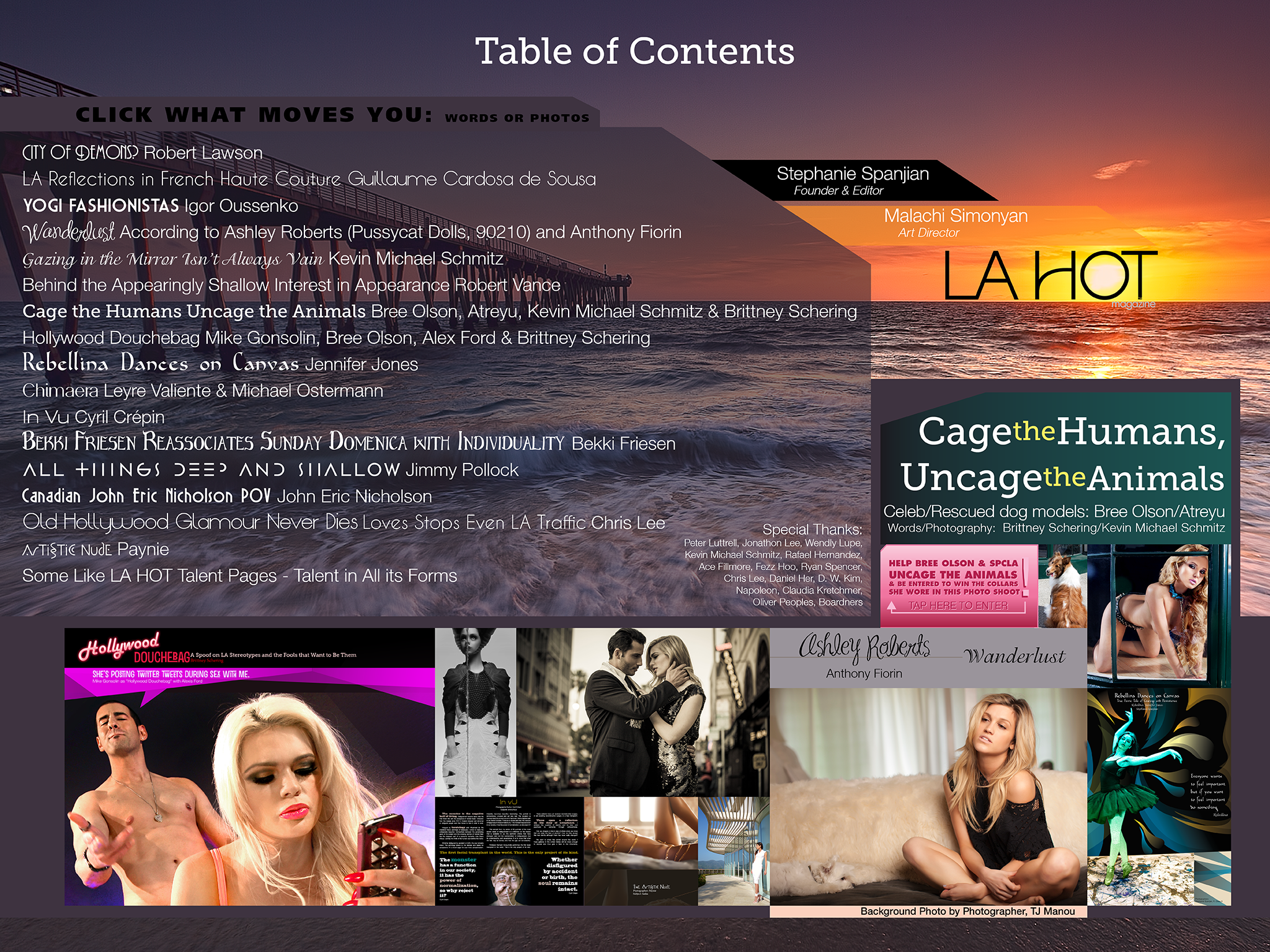 Table of Contents of LA HOT Magazine